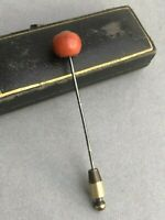 Victorian Stick Pin Natural Red Coral Lapel Hat Hard Case Box Antique Jewellery