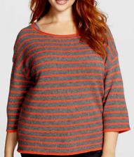 Eileen Fisher Stripe Wool & Yak Boxy Sweater Red Lory/ Ash 1X NWT $298