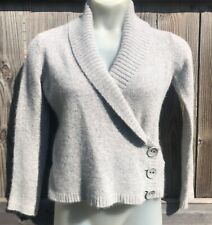 H&M Gray Wrap Cardigan Sweater, Lambs Wool Angora Blend Sz L