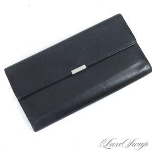 ESSENTIAL Coach Black Matte Waxy Leather Silver Plaque Long Clutch Wallet NR