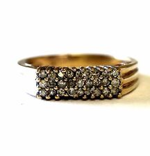 10k yellow gold diamond cluster ring .27ct I2 K 3g estate vintage antique band 7