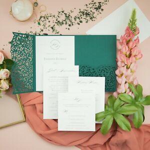 AUTUMN TROPICAL GREEN POCKET LASER CUT WEDDING CARDS DIY GREENERY FREE SHIPPING!