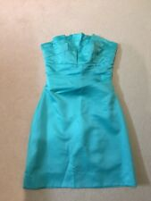 Grace & Hart Designer Satin Dress, Ruffle Off The Shoulder, Teal Size 8 RRP 299