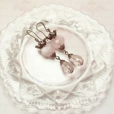 Shabby Chic Pink Rose Quartz x Antique Bronze Sacred Heart Drop Earrings, Retro