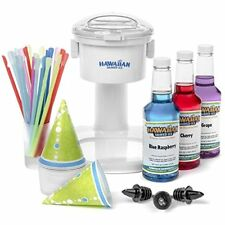 S700 Snow Shaved Ice Machines Cone Machine, 25 Cups, Spoon Straws, Black Bottle