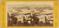 Italia Panorama Da Genoa Port c1865 Foto Sommer Stereo Vintage Albumina