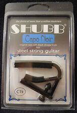 Shubb C1K Original style Capo Noir Black Chrome Capo for Steel String Guitars