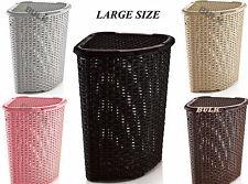 52L Large Woven Plastic Corner Laundry Washing Bin Multi Storage Rattan Basket
