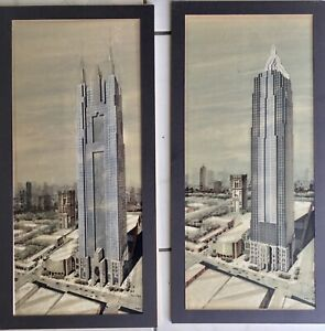 Rare Architectural 2 Original Drawings Paintings CHRYSLER BUILDING NYC Fine Art