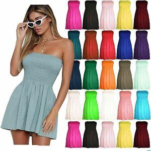 New Women's Ladies Strapless Sheering Boob Tube Bra Bandeau Top Mini Dress
