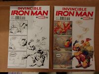 INVINCIBLE IRON MAN #1 ONE PER STORE PARTY SKETCH VARIANT & COLOR COVER (C550)