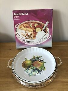 """Mayell """"Queen Anne"""" Vintage Oven to Table Flan Dish, Silver Plated Stand, Unused"""