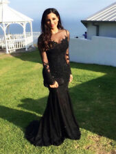 Black Long Sleeves Applique Beading Lace Mermaid Evening Dresses Prom Party Gown