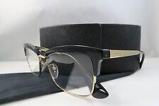 Prada VPR 08S 1AB-1O1 Black on Gold New Authentic Eyeglasses 55mm w/Case