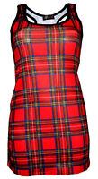 Womens Girls Red Tartan Classic Punk Goth Emo Printed Long Vest Top Racer Back