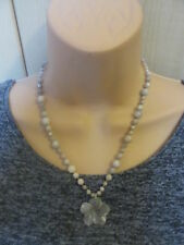 Lola Rose Grey Semi Precious Stones Bead Flower Necklace & Pouch& Gift Card NEW