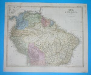 1860 RARE ORIGINAL MAP SOUTH AMERICA COLOMBIA PERU BRAZIL GUYANA GUIANA PANAMA