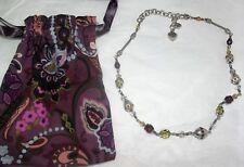 Brighton Silver Green Purple Beads Swarovski Crystals Necklace + Pouch
