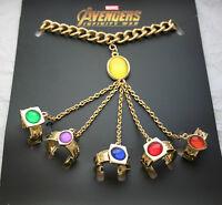 Marvel Comics Avengers Infinity War Gem Hand Chain + 5 Ring Bracelet New NOS Box