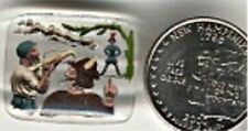 "1 VINTAGE WEST GERMAN ""WILLIAM TELL SCENE"" GLASS 28x25mm. RECTANGLE CAMEO d775"