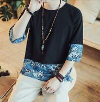 HotChinese Floral Men Vintage Long Sleeve Slim Gold Print Velvet T Shirt Leisure
