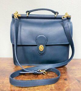 VTG Estate Coach Willis Bag Navy Blue Leather w/ Original Box! Nice! 58