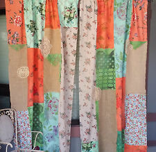 Boho Shabby Chic Curtains Rustic 2 panels patchwork hippie unique gypsy bohemian