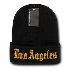 """Black & Gold Los Angeles LA Embroidery 12"""" Long Cuffed Vintage Beanie Beanies"""