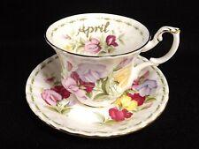 Royal Albert April Sweet Pea Flower Month Cup Saucer 1970 Bone China England