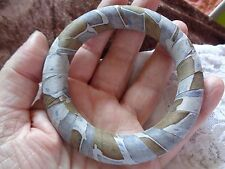 PRETTY RIBBON WRAPPED MEDIUM  BANGLE NATURAL COLOURS CAMOUFLAGE BLUE / BEIGE