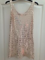 River island cream & gold sequin Sparkly dress size 10