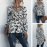 UK Womens Lace Up V Neck Tops Ladies Long Sleeve Pullover Shirt Blouse Plus Size