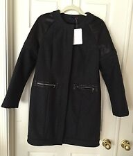 """NWT $798 Erin Snow """"Kelsey"""" Charcoal Faux Leather/Wool Collarless Jacket Coat, M"""