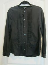 APC Women's Pintuck Collarless Long Sleeve Black Blouse - Size M