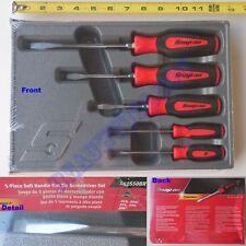 New Snap On Red Soft Grip Handle Flat Tip Screwdriver 5 Pcs Set - SGDS50BR