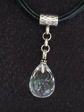 ❤ SILPADA~ STERLING SILVER 925 ~BLK 5 CORDS LEATHER CRYSTAL DROP PENDANT