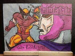 Wolverine vs. Sentinel 2.5x3.5 Sketch Card by Nate Rosado iamnatetheartist