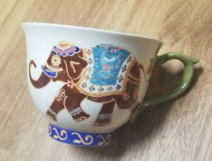 DUTCH WAX By Coastline Imports Handpainted Elephant Ceramic Coffee Tea Cup Mug