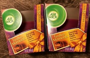 2 Count Air Wick Scented Candle Crackling Fire & Log Cabin 3 OZ Ea RARE HTF NEW