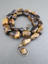 Vintage Chinese Tiger Eye Necklace Silver Filigree Clasp