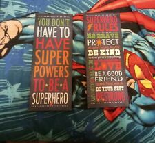 Stretched Canvas Superhero Rules and encouraging words wall hanging 8x18