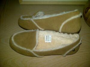 NEW $100 UGG Chestnut Suede Women's HAILEY Sheepskin Loafer SLIPPER - Size 8.5