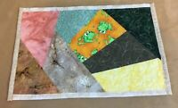 Patchwork Quilt Placemat, Crazy Style Patches, Contemporary Prints, Frogs