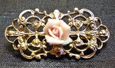Vintage Goldtone Filigere Rose Flower Brooch/Pin made by 1928