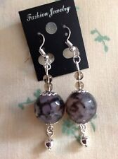 Grey Agate faceted Round 12mm AGW 50Cts Stainless Steel Hook Earrings