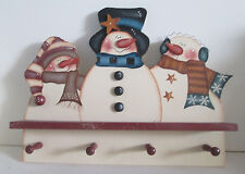 "Snowman Tole Painted Wall Shelf with Pegs 23"" x 18"" Holiday"