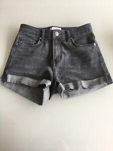 Women's H&M Washed Black/Grey Denim Shorts, Size 4 Euro 32