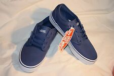 NEW Girls Boys Unisex Size 2.5 Vans Atwood Blue Kid's Sneakers Canvas Navy/White