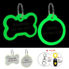 Round Bone Luminous Custom Personalized Dog Tags Disc Pet Name ID Collar Tag