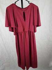 ASOS Dress Size 8 Midi Stretch Burgandy Oxblood Cape Sleeves Keyhole